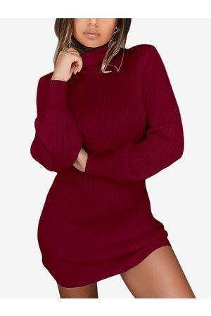 YOINS Plain Turtleneck Long Sleeves Sweater Dress
