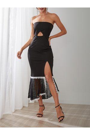 YOINS Lace Details Strapless Sleeveless Slit Hem Dress