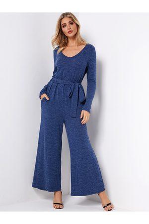 YOINS V Neck Wide Leg Fashion Jumpsuits