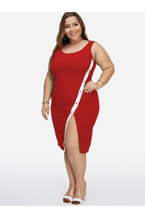 YOINS Plus Size Slit Design Sleeveless Bodycon Dress