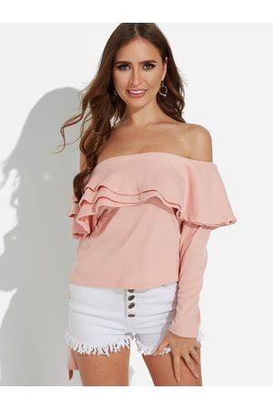 YOINS Backless Design Plain Off The Shoulder Long Sleeves T-shirts