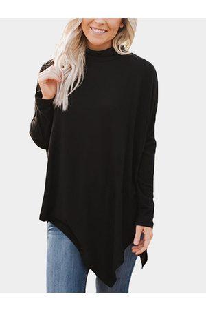 YOINS Turtleneck Bat Sleeves Irregular Hem Sweatshirt