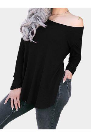 YOINS Slit Design Plain One Shoulder Long Sleeves Tee With Curve Hem