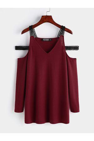 YOINS Lace Details Plain Cold Shoulder Long Sleeves T-shirts