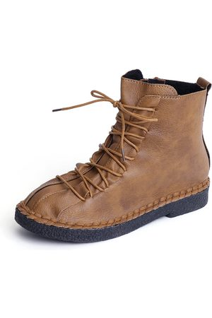 YOINS Lace-up Design Round Toe Martin Boots
