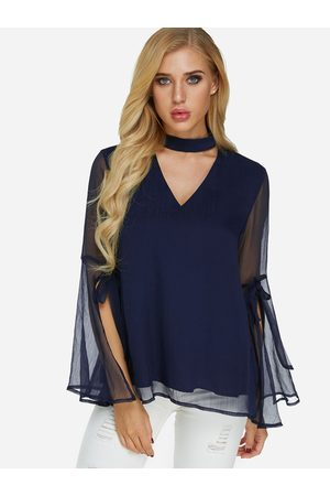 YOINS Tiered See Through Design Cut Out Perkins Collar Slit Long Sleeves Blouse