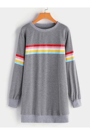 YOINS Rainbow Stripe Round Neck Long Sleeves Sweatshirt Dress