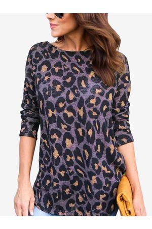 YOINS Leopard Cross Design at Back Round Neck T-shirt