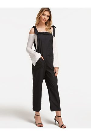 YOINS Lace-up Design Square Neck Overall Outfits with Side Pockets