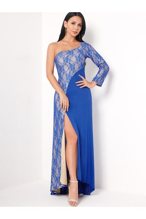 YOINS Patchwork Lace Details One Shoulder Long Sleeves Party Dresses