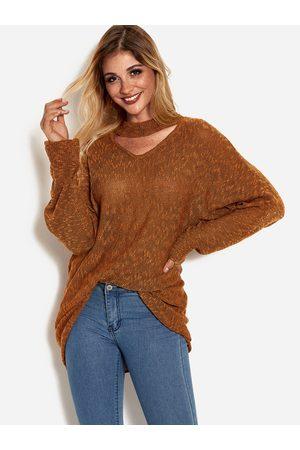 YOINS V-neck Dolman Sleeve Sweater With Collar