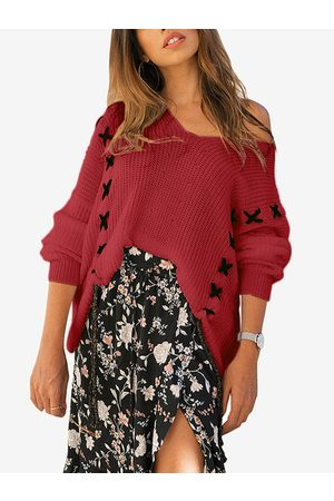 YOINS Lace-up Design V-neck Long Sleeves Sweater