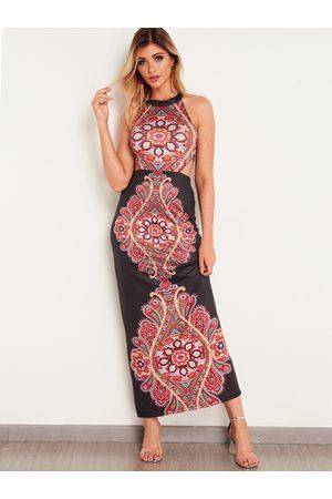 YOINS Halter Backless Printed Fashion Long Dress