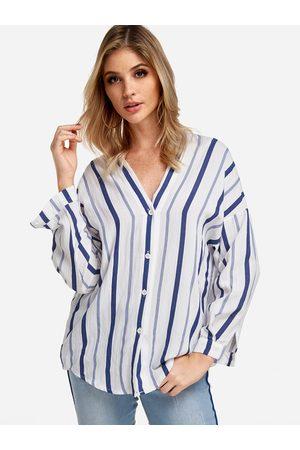YOINS Stripe Button Design V-neck Long Sleeves Shirt