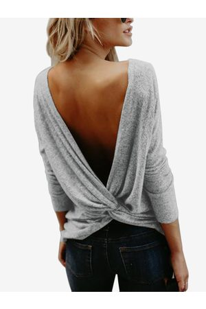 YOINS Backless Design Crew Neck Long Sleeves T-shirt