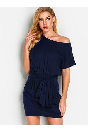 YOINS One Shoulder Lace-up Fashion Dress