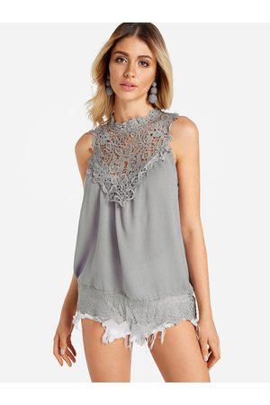 YOINS Crochet Lace Insert Round Neck Tank Top