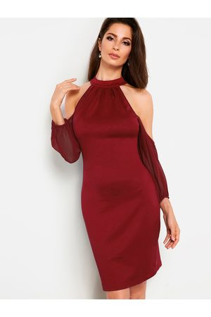 YOINS High Neck Cold Shoulder Elastic Long Sleeves Bodycon Dress