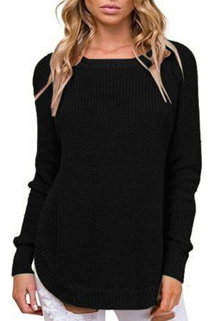 YOINS Slit Design Plain Curve Hem Crew Neck Long Sleeves Sweaters