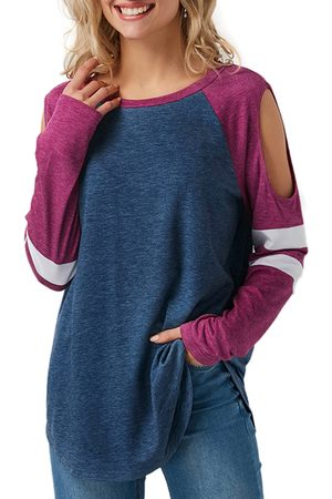 YOINS Navy Stripe Cold Shoulder Long Sleeves T-shirt
