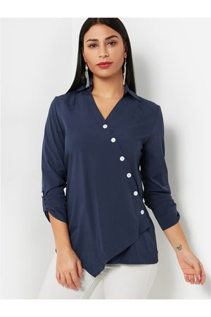 YOINS Oblique Button Design Plain V-neck Long Sleeves Shirt