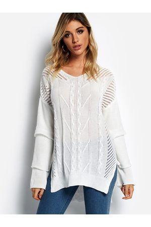 YOINS Hollow Design V-neck Bell Sleeves Sweater