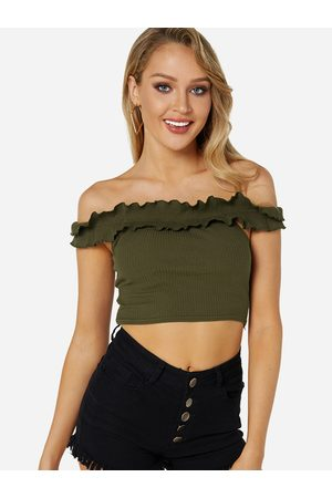 YOINS Falbala Design Off The Shoulder Knitted Crop Top