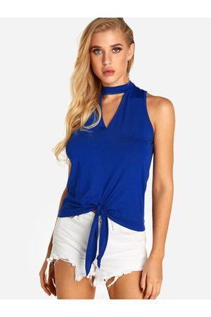YOINS Cut Out Plain Halter Self Tie Design Camis