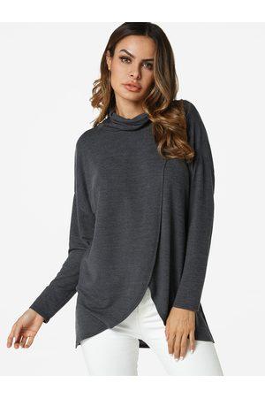 YOINS Crossed Front Design Turtleneck Cut Out T-shirt