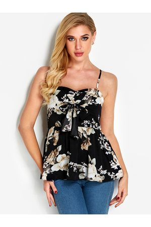 YOINS Floral Print Backless Sexy Tops