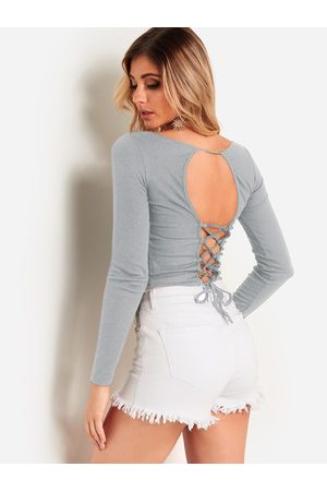 YOINS Lace Up Backless Design Long Sleeves Bodycon T-shirts