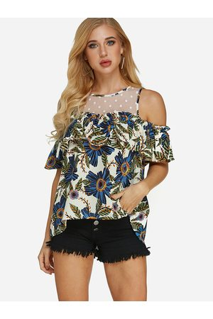 YOINS Net Yarn Random Floral Print Cold Shoulder Short Sleeves Blouses