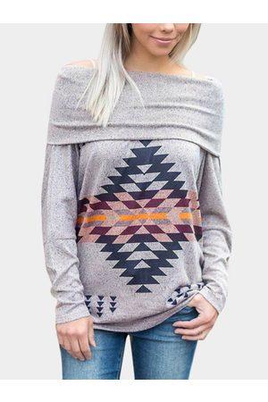 YOINS Fashion Geometrical Pattern Drape Sagging Long Sleeves T-shirts