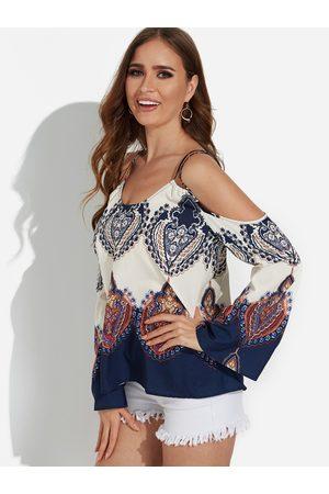 YOINS Apricot Printed Cold Shoulder Fashion Strap Blouse