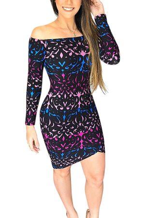 YOINS Random Graphic Print Off Shoulder Long Sleeves Mini Dress