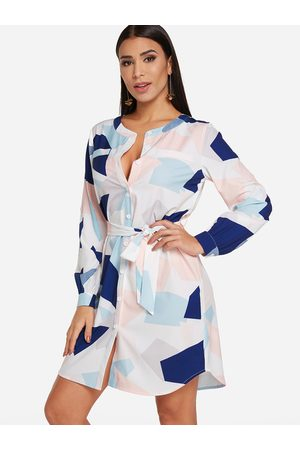 YOINS Self-tie Design Random Geometrical Long Sleeves Shirt Dress