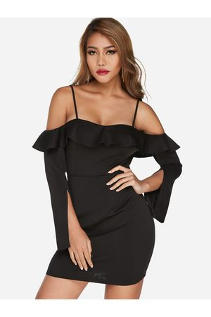 YOINS Cold Shoulder Frill Neck Long Sleeves Bodycon Hem Dress