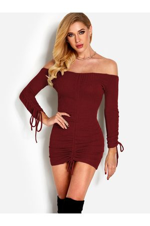 YOINS Pleated Design Plain Off The Shoulder Long Sleeves Dress
