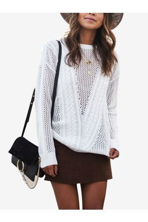 YOINS Hollow See Through Design Round Neck Long Sleeves Sweaters