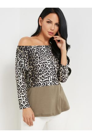 YOINS Brown Leopard Print Round Neck 3/4 Length Sleeves T-shirt
