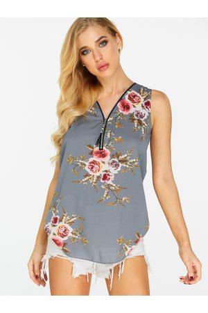 YOINS Zip Design Floral Print V-neck Vest