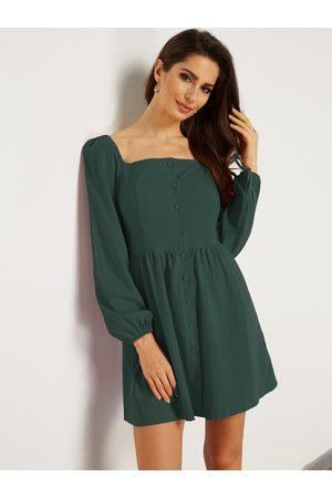 YOINS Single-breasted Design Plain Square Neck Long Sleeves Mini Dress