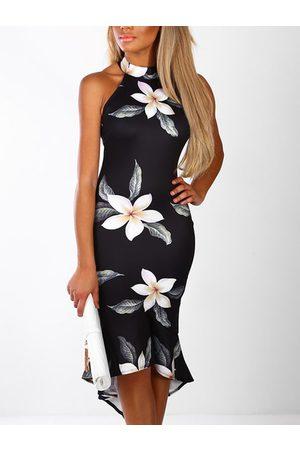 YOINS Random Floral Print Halter Sleeveless Flounced Hem Dress