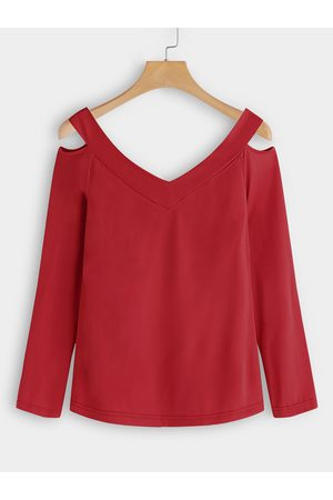 YOINS Cut Out Design Plain V-neck Long Sleeves T-shirts