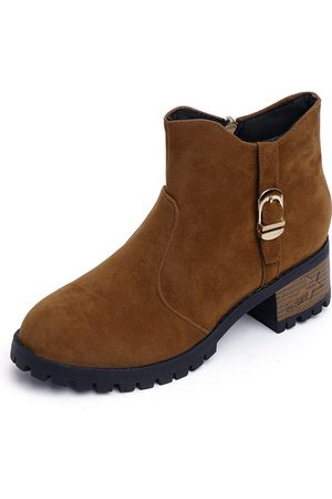 YOINS Suede Chunky Ankle Boots
