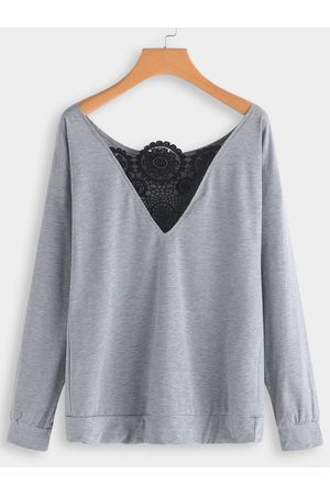 YOINS Lace Insert One Shoulder Long Sleeves T-shirts