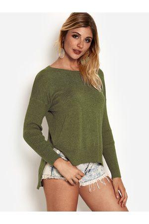 YOINS Cross Design Round Neck Long Sleeves Slit Sweater