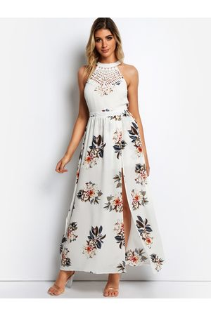 YOINS White Slit design Random Print Halter Sleeveless Lace Insert Dress