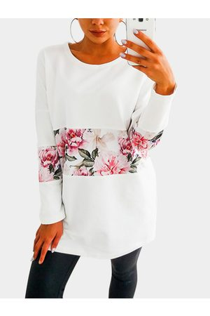 YOINS Round Neck Colorblock Floral Print Tee