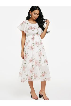 YOINS Random Floral Print Chiffon Maxi Dress